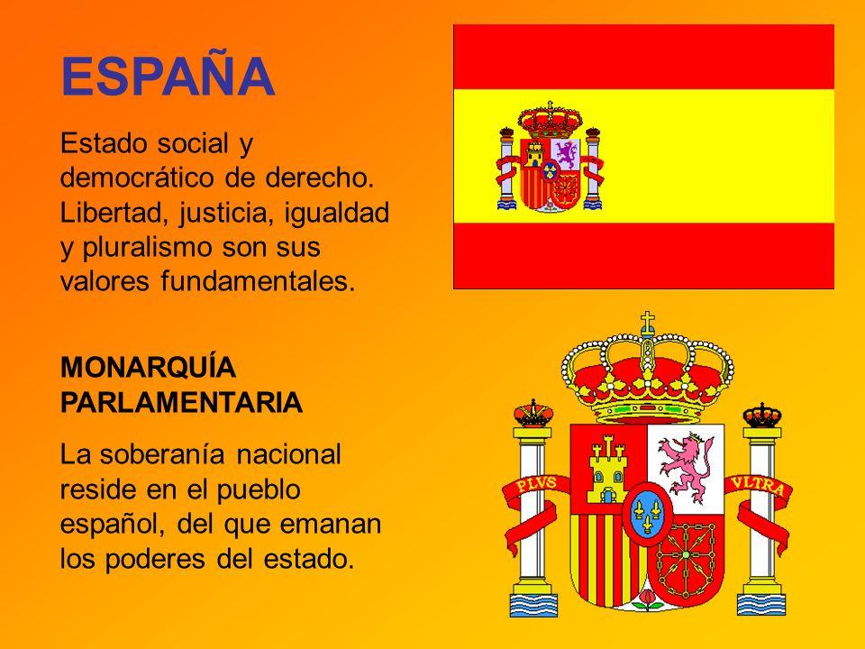 ESPAÑA Estado social y democrático de derecho. Libertad, justicia, igualdad y pluralismo son sus valores fundamentales. MONARQUÍA PARLAMENTARIA La sob