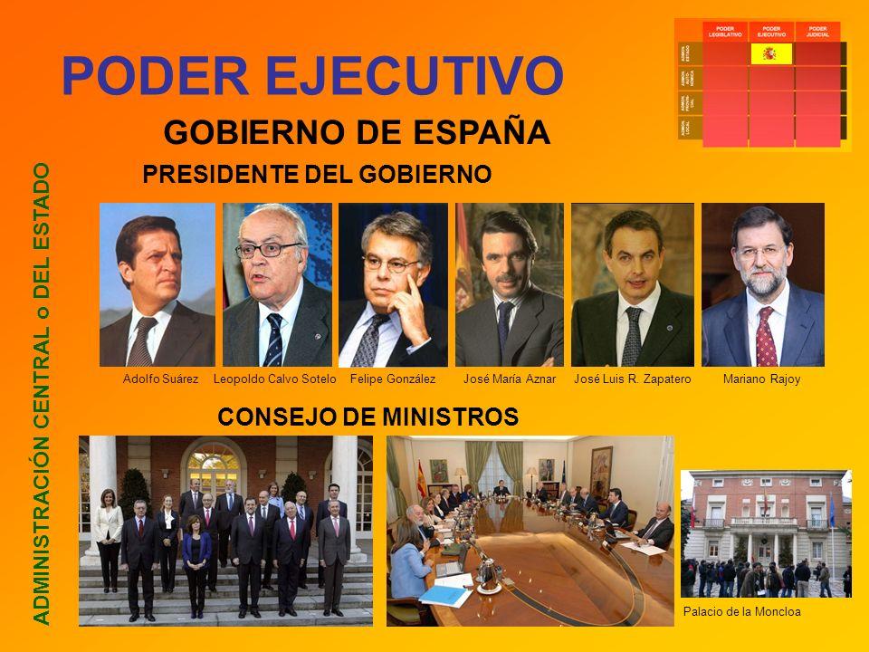PODER EJECUTIVO ADMINISTRACIÓN CENTRAL o DEL ESTADO GOBIERNO DE ESPAÑA PRESIDENTE DEL GOBIERNO CONSEJO DE MINISTROS Adolfo Suárez Leopoldo Calvo Sotel