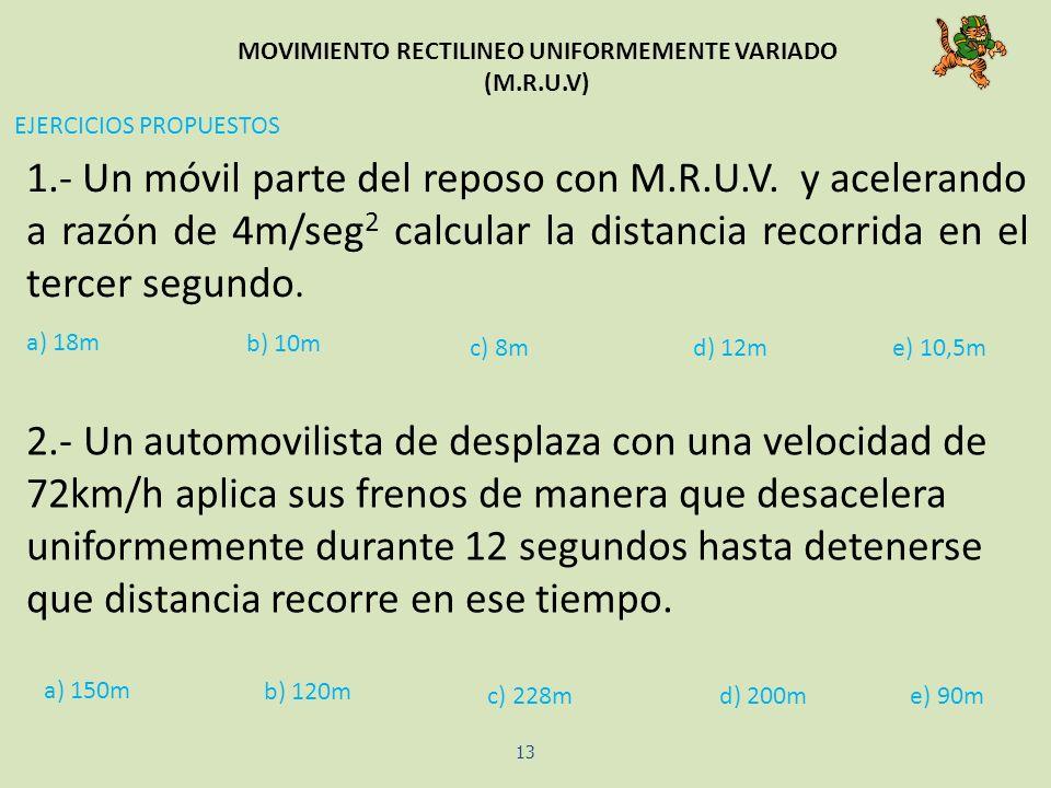 MOVIMIENTO RECTILINEO UNIFORMEMENTE VARIADO (M.R.U.V) 13 1.- Un móvil parte del reposo con M.R.U.V. y acelerando a razón de 4m/seg 2 calcular la dista