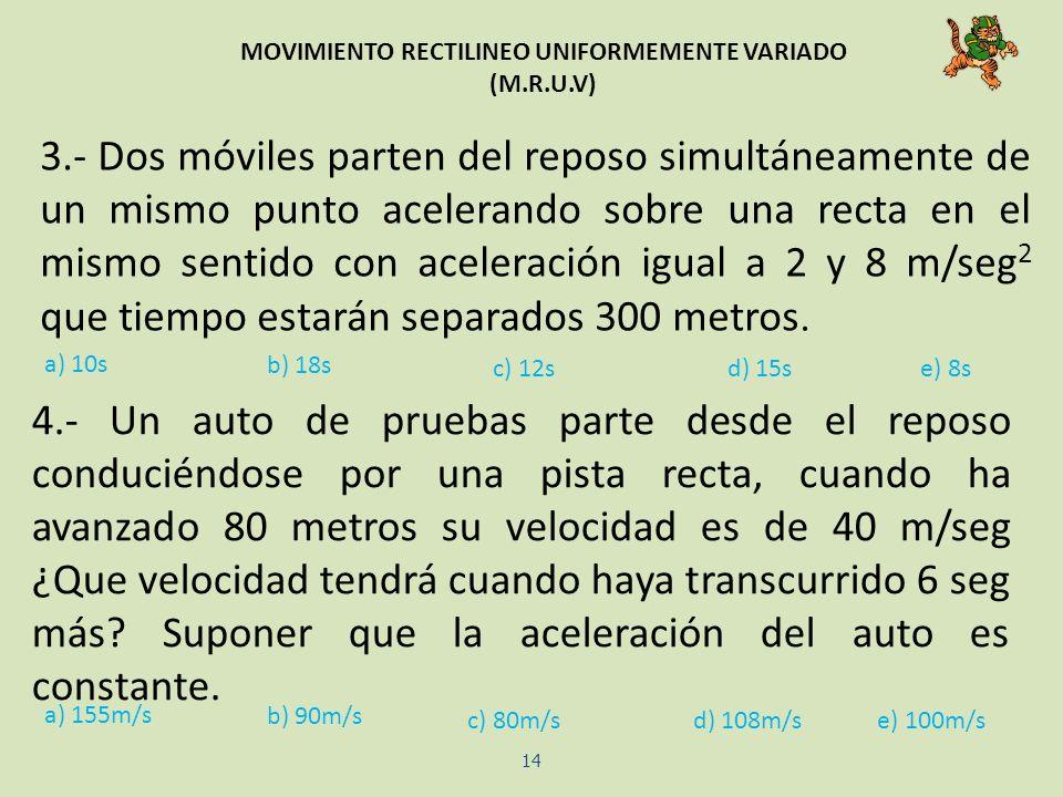 MOVIMIENTO RECTILINEO UNIFORMEMENTE VARIADO (M.R.U.V) 14 a) 10s b) 18s c) 12sd) 15se) 8s a) 155m/s b) 90m/s c) 80m/sd) 108m/se) 100m/s 3.- Dos móviles
