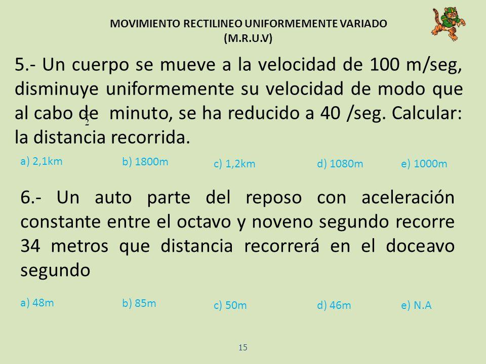 MOVIMIENTO RECTILINEO UNIFORMEMENTE VARIADO (M.R.U.V) 15 5.- Un cuerpo se mueve a la velocidad de 100 m/seg, disminuye uniformemente su velocidad de m