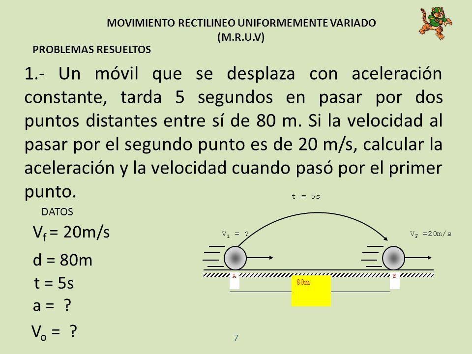 MOVIMIENTO RECTILINEO UNIFORMEMENTE VARIADO (M.R.U.V) PROBLEMAS RESUELTOS 1.- Un móvil que se desplaza con aceleración constante, tarda 5 segundos en