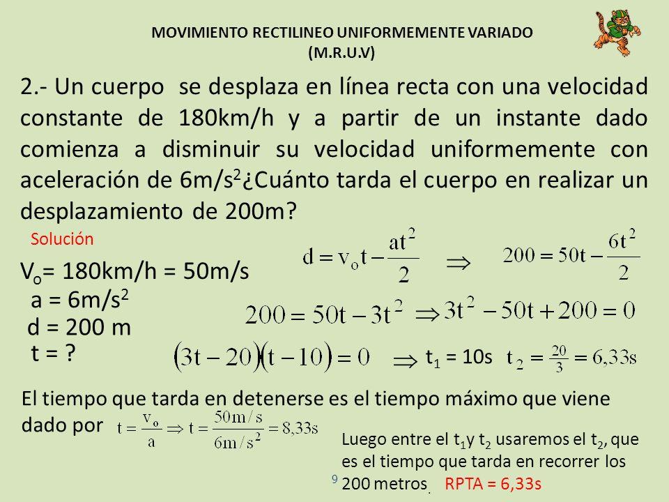 MOVIMIENTO RECTILINEO UNIFORMEMENTE VARIADO (M.R.U.V) 2.- Un cuerpo se desplaza en línea recta con una velocidad constante de 180km/h y a partir de un