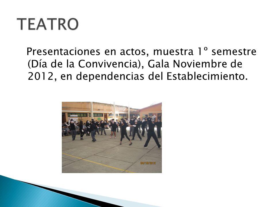 Presentaciones en actos, muestra 1º semestre (Día de la Convivencia), Gala Noviembre de 2012, en dependencias del Establecimiento.