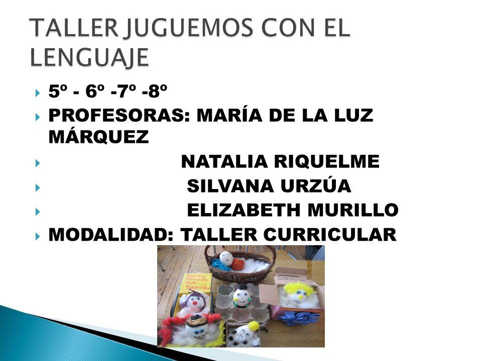 5º - 6º -7º -8º PROFESORAS: MARÍA DE LA LUZ MÁRQUEZ NATALIA RIQUELME SILVANA URZÚA ELIZABETH MURILLO MODALIDAD: TALLER CURRICULAR
