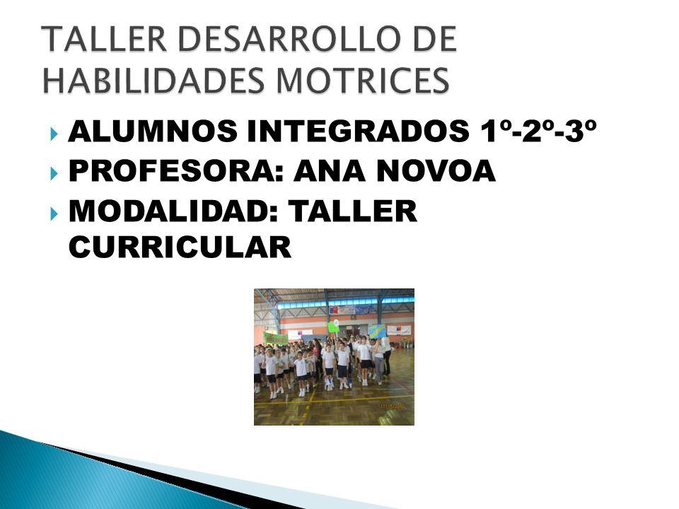 ALUMNOS INTEGRADOS 1º-2º-3º PROFESORA: ANA NOVOA MODALIDAD: TALLER CURRICULAR