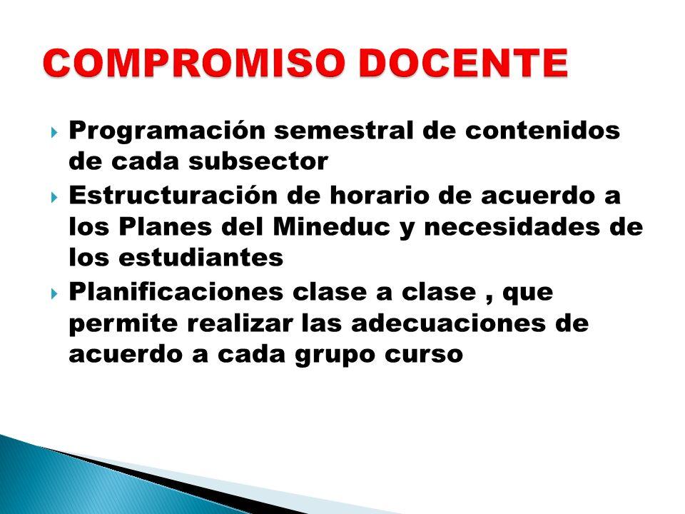 Programación semestral de contenidos de cada subsector Estructuración de horario de acuerdo a los Planes del Mineduc y necesidades de los estudiantes
