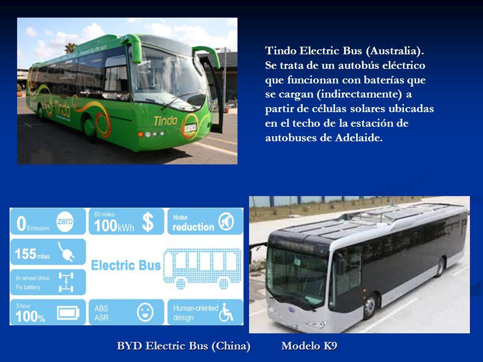 BYD Electric Bus (China) Modelo K9 Tindo Electric Bus (Australia). Se trata de un autobús eléctrico que funcionan con baterías que se cargan (indirect
