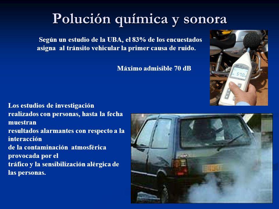 Polución química y sonora Según un estudio de la UBA, el 83% de los encuestados asigna al tránsito vehicular la primer causa de ruido. Los estudios de