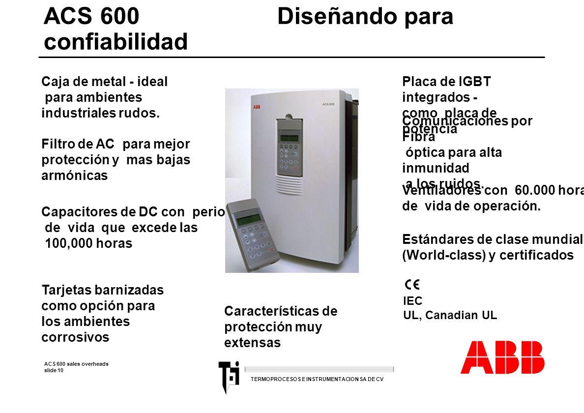 ACS 600 sales overheads slide 10 TERMOPROCESOS E INSTRUMENTACION SA DE CV ACS 600 Diseñando para confiabilidad IEC UL, Canadian UL Caja de metal - ide