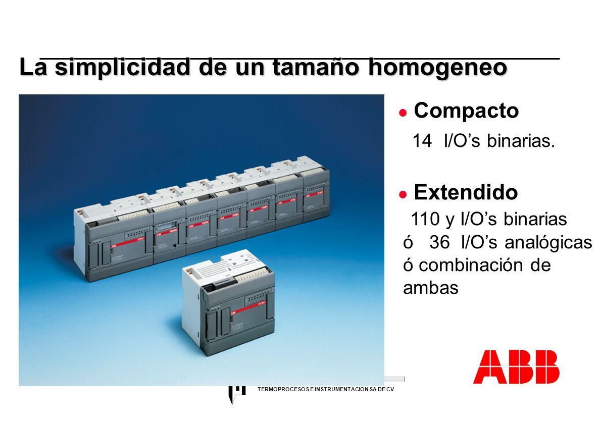 ACS 600 sales overheads slide 13 TERMOPROCESOS E INSTRUMENTACION SA DE CV La simplicidad de un tamaño homogeneo l Compacto 14 I/Os binarias. l Extendi