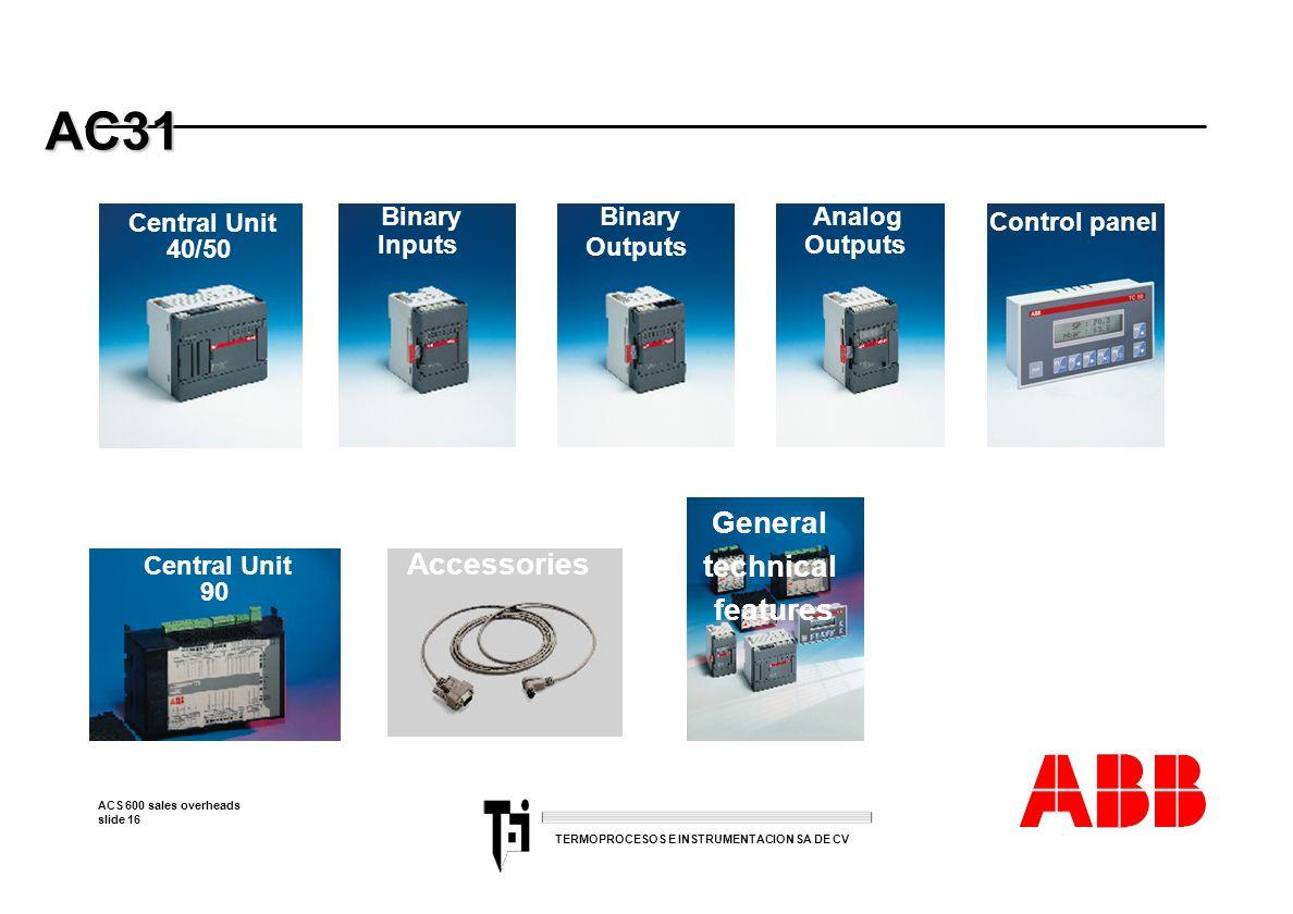 ACS 600 sales overheads slide 16 TERMOPROCESOS E INSTRUMENTACION SA DE CV AC31 AC31 Central Unit 40/50 Binary Inputs Binary Outputs Analog Outputs Con