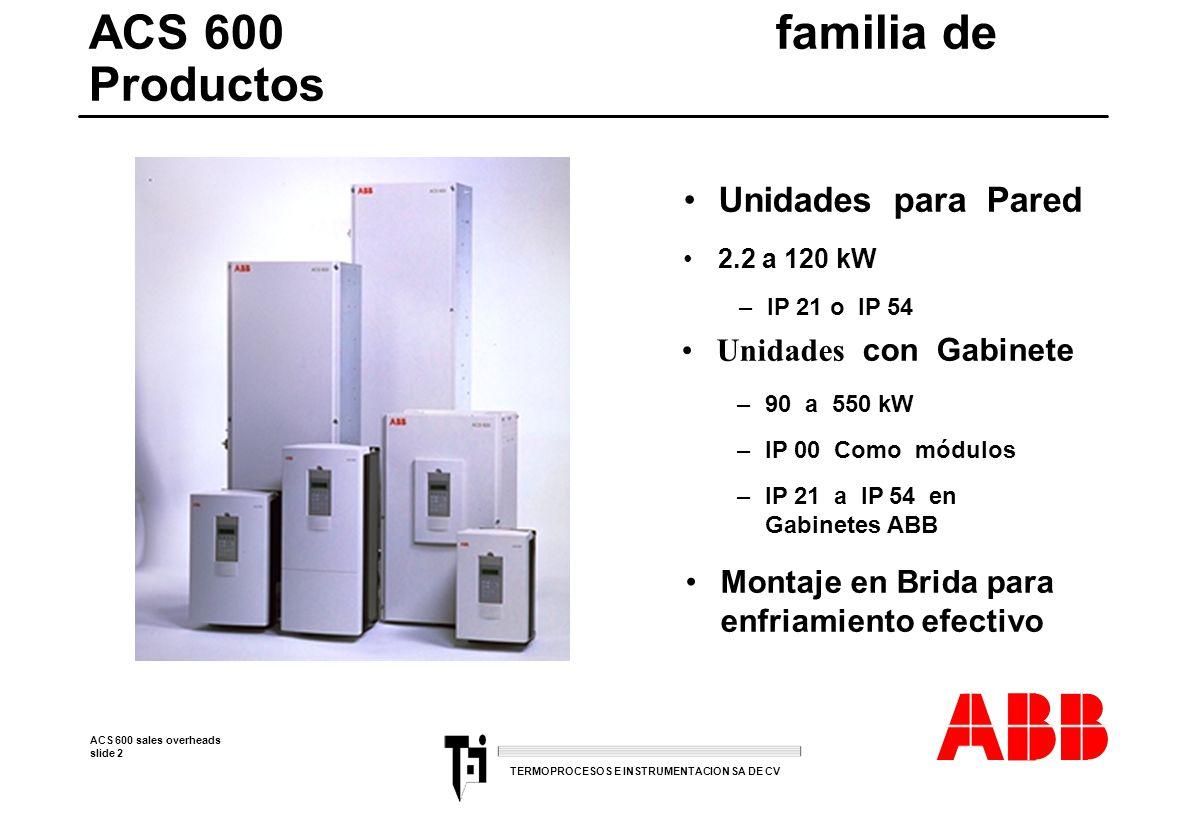 ACS 600 sales overheads slide 13 TERMOPROCESOS E INSTRUMENTACION SA DE CV La simplicidad de un tamaño homogeneo l Compacto 14 I/Os binarias.