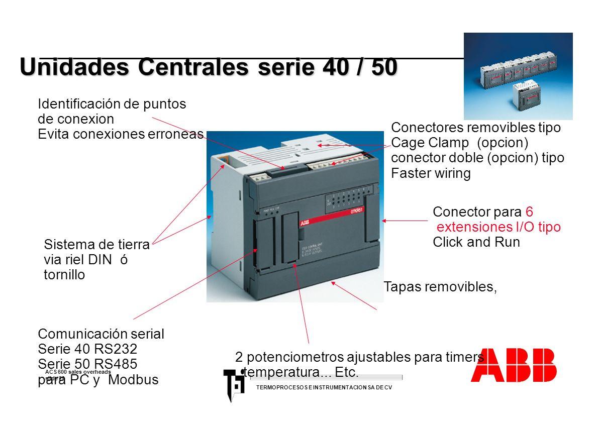 ACS 600 sales overheads slide 29 TERMOPROCESOS E INSTRUMENTACION SA DE CV Unidades Centrales serie 40 / 50 Conectores removibles tipo Cage Clamp (opci