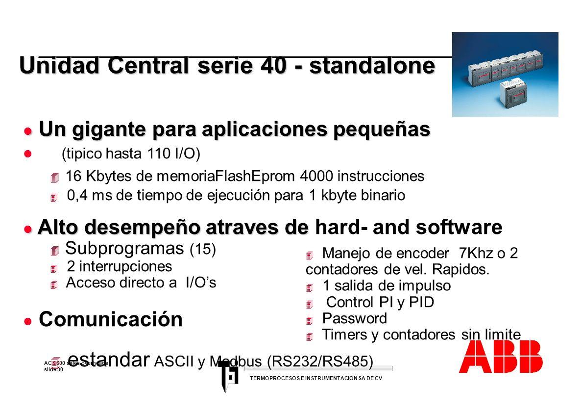 ACS 600 sales overheads slide 30 TERMOPROCESOS E INSTRUMENTACION SA DE CV l Un gigante para aplicaciones pequeñas l (tipico hasta 110 I/O) 4 16 Kbytes
