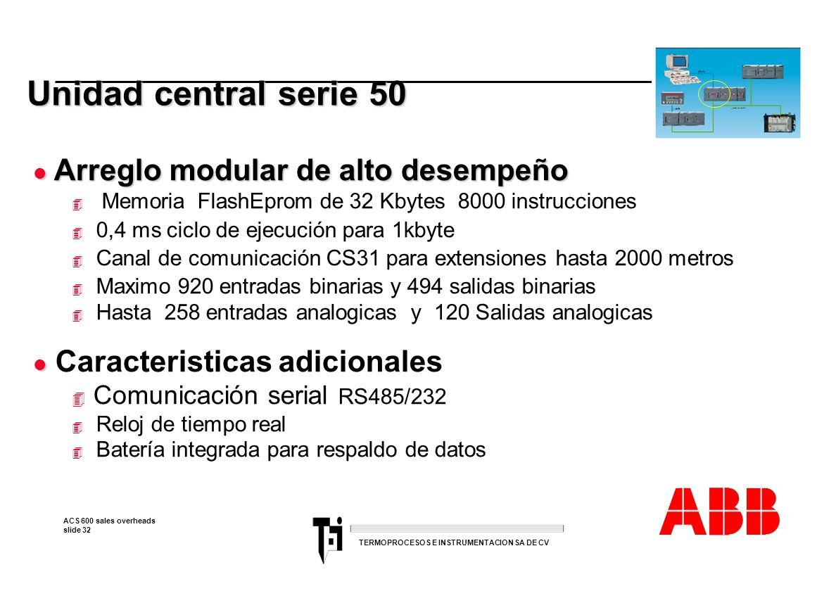 ACS 600 sales overheads slide 32 TERMOPROCESOS E INSTRUMENTACION SA DE CV Unidad central serie 50 l Arreglo modular de alto desempeño 4 Memoria FlashE