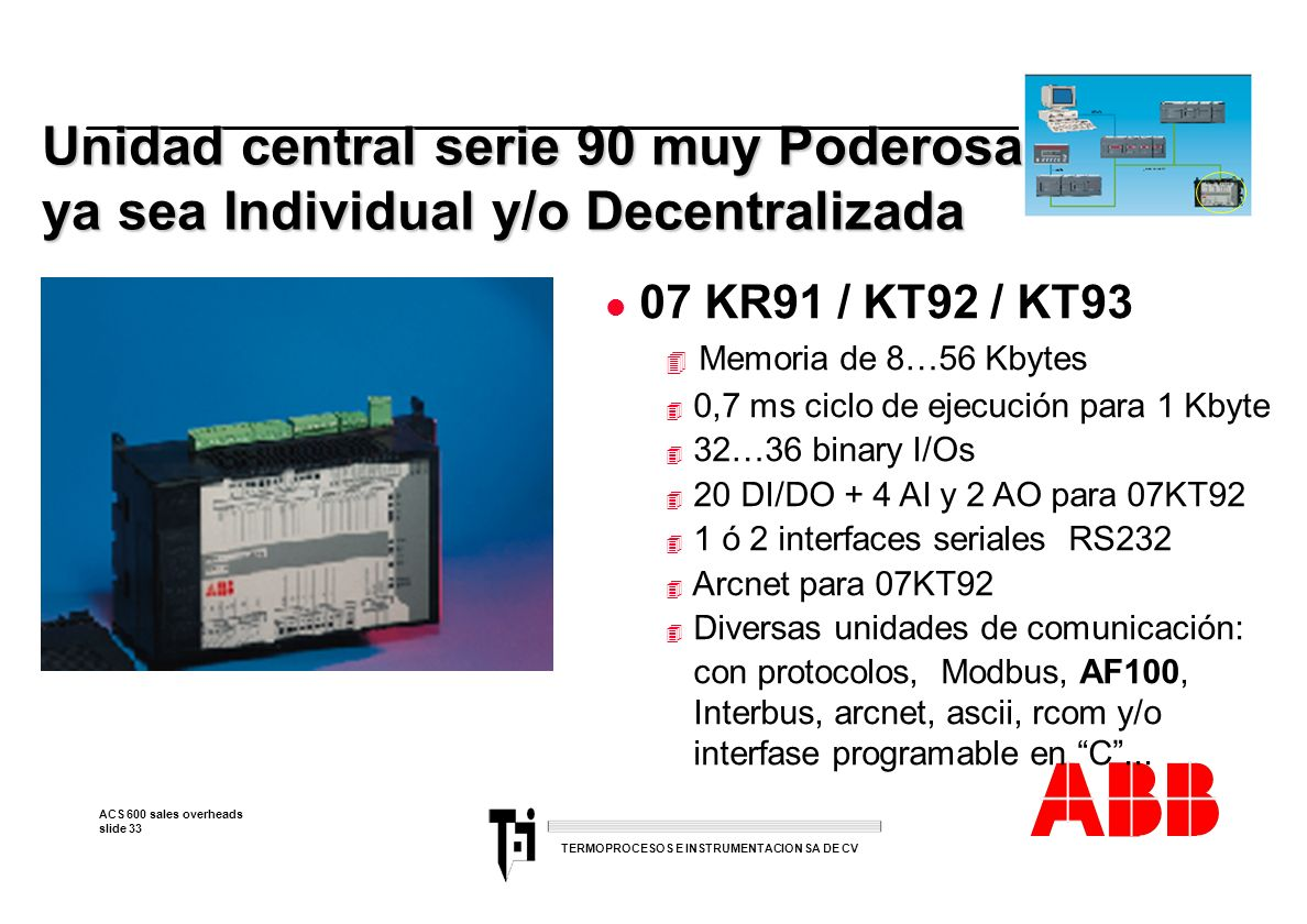ACS 600 sales overheads slide 33 TERMOPROCESOS E INSTRUMENTACION SA DE CV Unidad central serie 90 muy Poderosa ya sea Individual y/o Decentralizada l