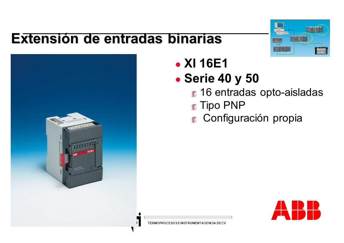 ACS 600 sales overheads slide 35 TERMOPROCESOS E INSTRUMENTACION SA DE CV Extensión de entradas binarias l XI 16E1 l Serie 40 y 50 4 16 entradas opto-