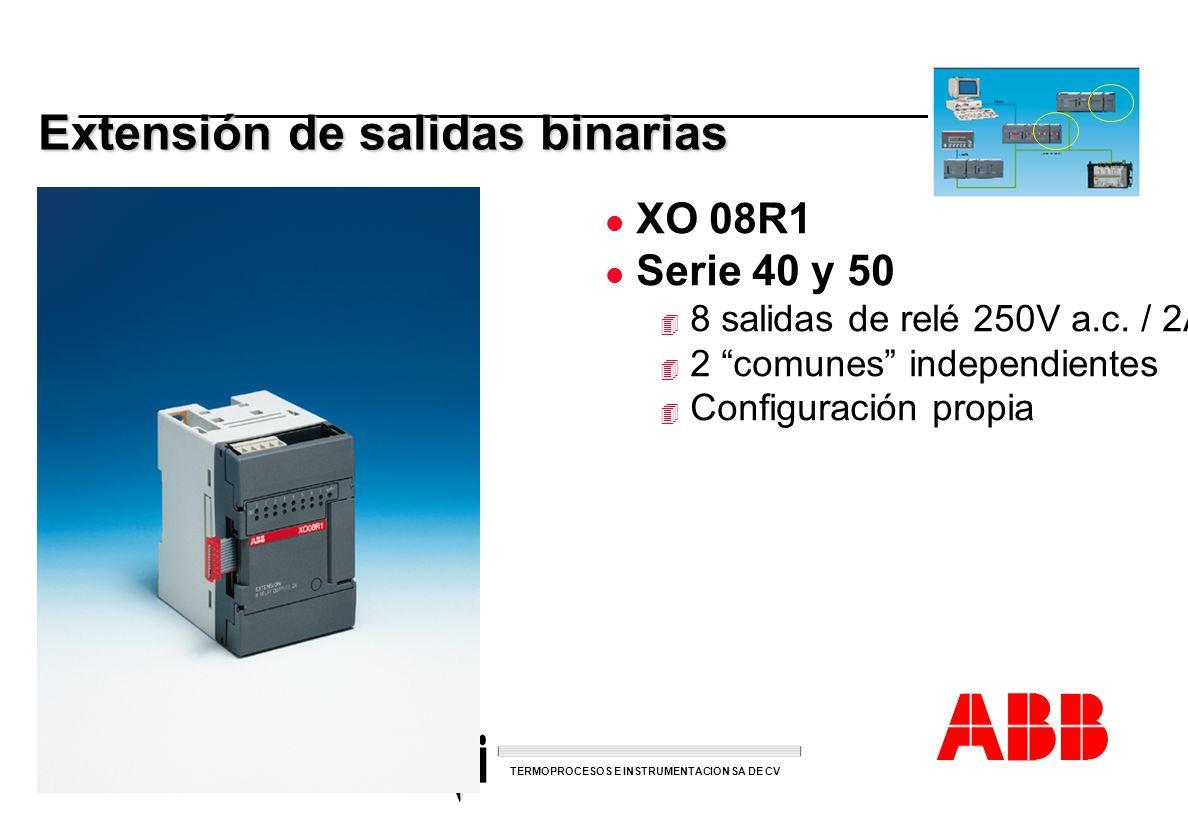 ACS 600 sales overheads slide 36 TERMOPROCESOS E INSTRUMENTACION SA DE CV Extensión de salidas binarias l XO 08R1 l Serie 40 y 50 4 8 salidas de relé