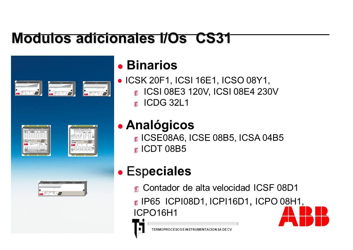 ACS 600 sales overheads slide 38 TERMOPROCESOS E INSTRUMENTACION SA DE CV Modulos adicionales I/Os CS31 l l Binarios l ICSK 20F1, ICSI 16E1, ICSO 08Y1