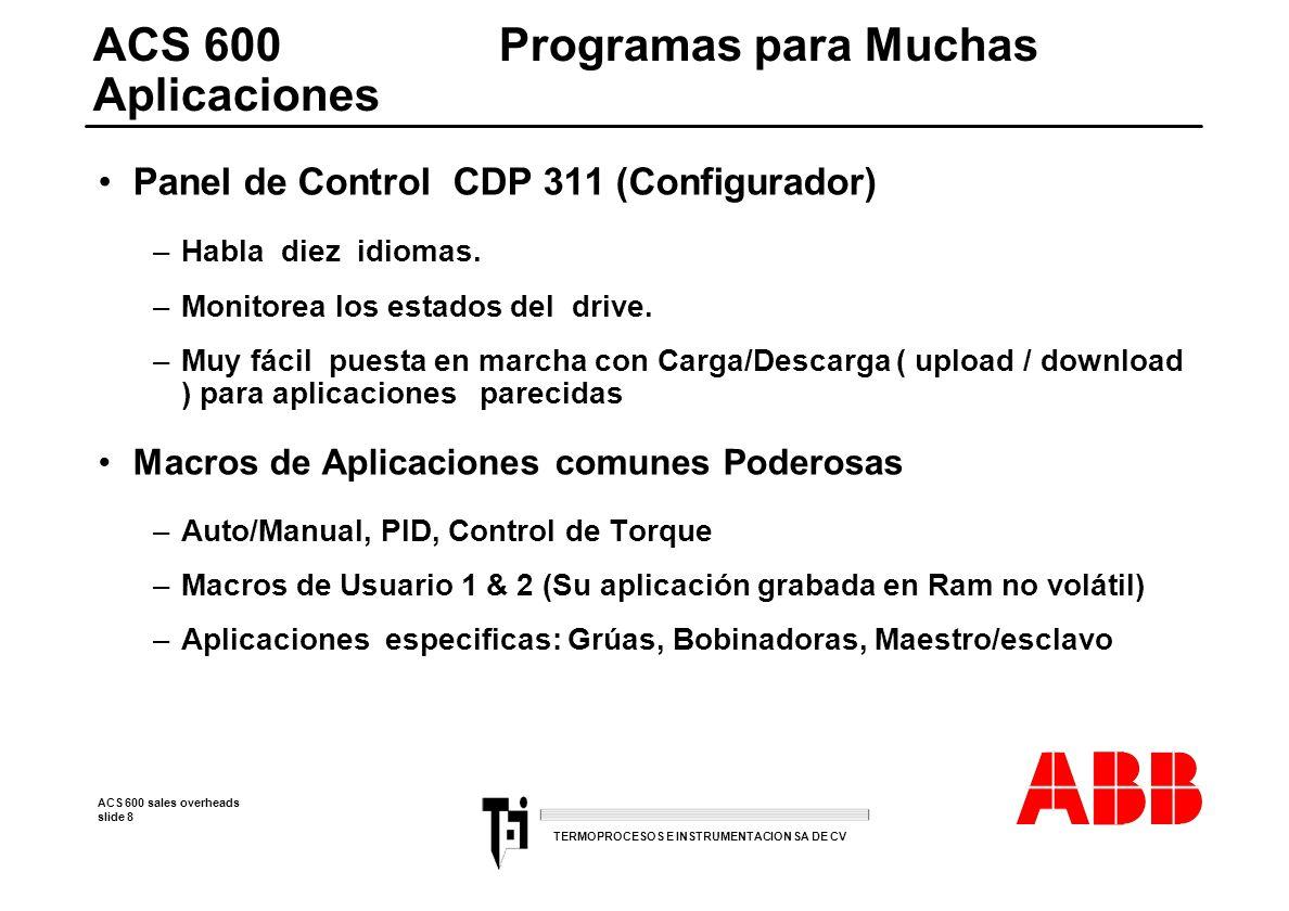 ACS 600 sales overheads slide 9 TERMOPROCESOS E INSTRUMENTACION SA DE CV ACS 600Concepto E/S Modulares E/S ESTANDAR: - 3 Entradas análogas - 2 Salidas análogas - 6 Entradas digitales - 3 Salidas de relay.