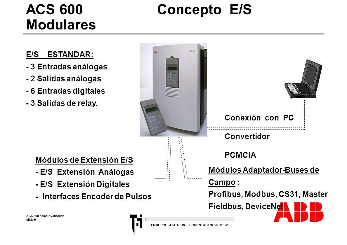 ACS 600 sales overheads slide 30 TERMOPROCESOS E INSTRUMENTACION SA DE CV l Un gigante para aplicaciones pequeñas l (tipico hasta 110 I/O) 4 16 Kbytes de memoriaFlashEprom 4000 instrucciones 4 0,4 ms de tiempo de ejecución para 1 kbyte binario l Alto desempeño atraves de l Alto desempeño atraves de hard- and software 4 Subprogramas (15) 4 2 interrupciones 4 Acceso directo a I/Os l Comunicación 4 estandar ASCII y Modbus (RS232/RS485) Unidad Central serie 40 - standalone 4 Manejo de encoder 7Khz o 2 contadores de vel.