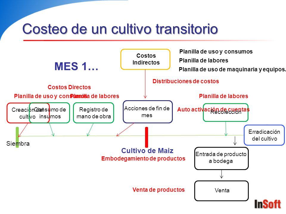 Costeo de un cultivo transitorio Creación del cultivo Acciones de fin de mes Costos Indirectos Entrada de producto a bodega Venta Planilla de uso y co