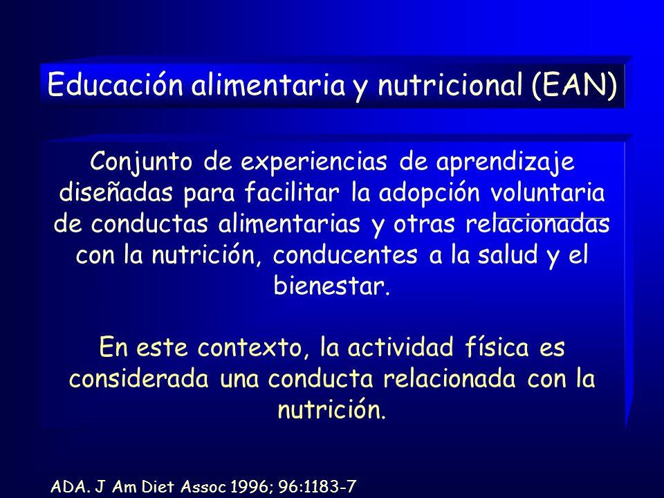 Conjunto de experiencias de aprendizaje diseñadas para facilitar la adopción voluntaria de conductas alimentarias y otras relacionadas con la nutrición, conducentes a la salud y el bienestar.