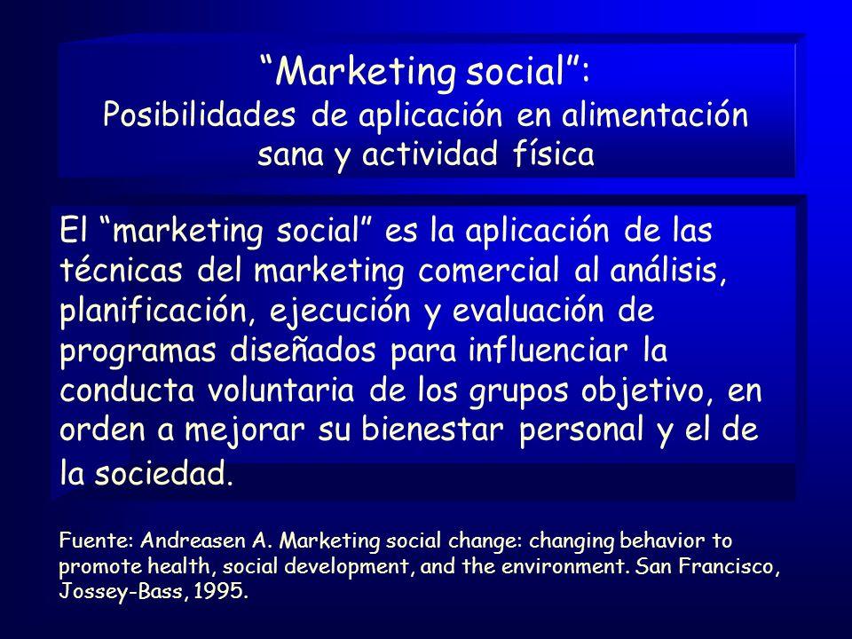 El marketing social es la aplicación de las técnicas del marketing comercial al análisis, planificación, ejecución y evaluación de programas diseñados para influenciar la conducta voluntaria de los grupos objetivo, en orden a mejorar su bienestar personal y el de la sociedad.