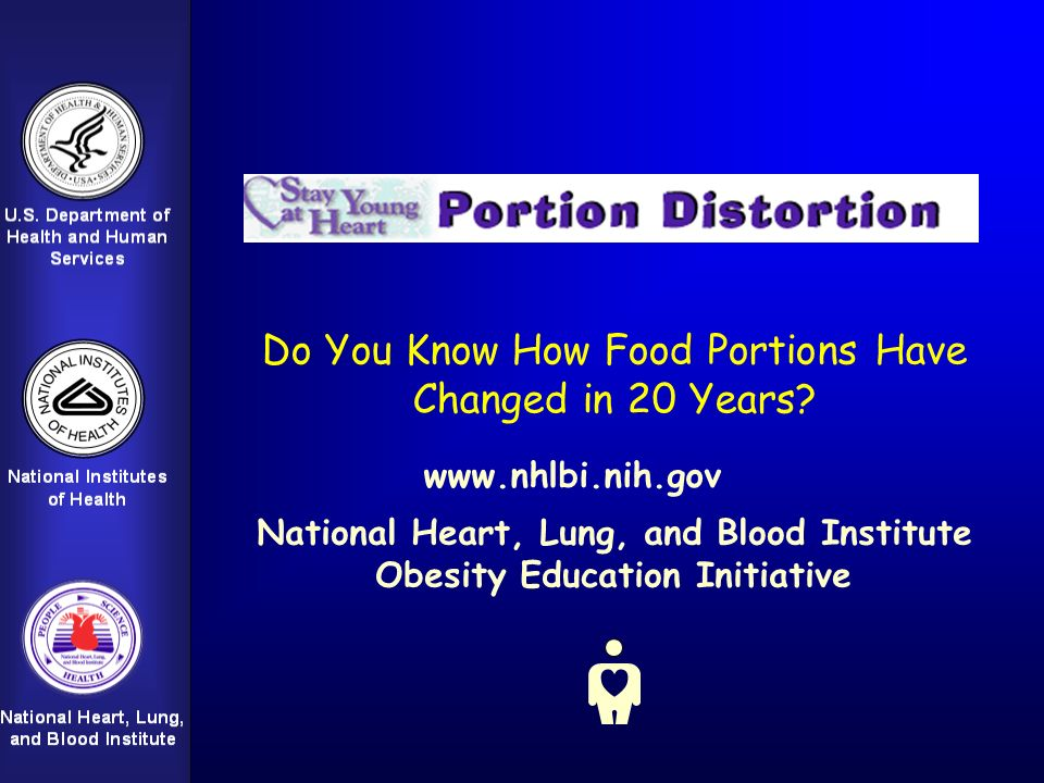 Do You Know How Food Portions Have Changed in 20 Years? National Heart, Lung, and Blood Institute Obesity Education Initiative www.nhlbi.nih.gov