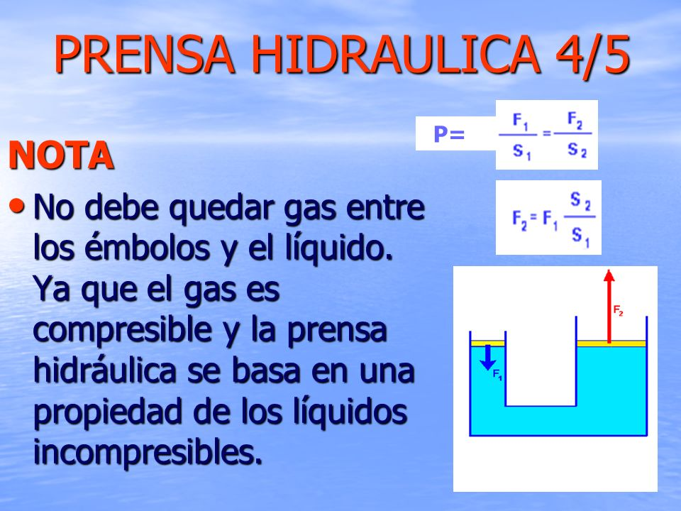 PRENSA HIDRAULICA 4/5 NOTA No debe quedar gas entre los émbolos y el líquido. Ya que el gas es compresible y la prensa hidráulica se basa en una propi