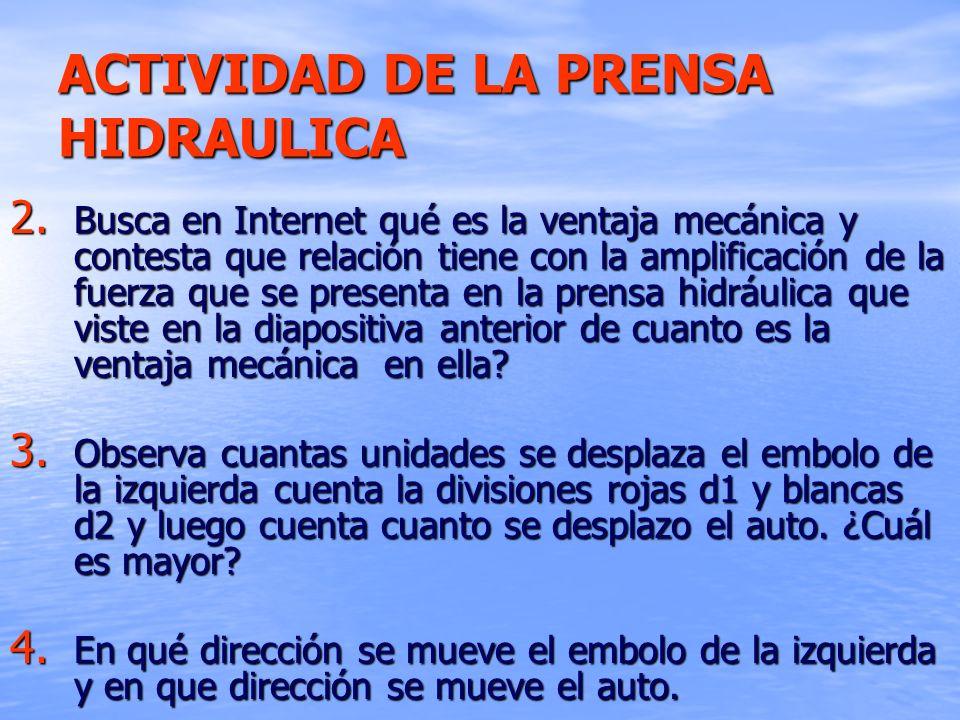 ACTIVIDAD DE LA PRENSA HIDRAULICA 2. Busca en Internet qué es la ventaja mecánica y contesta que relación tiene con la amplificación de la fuerza que