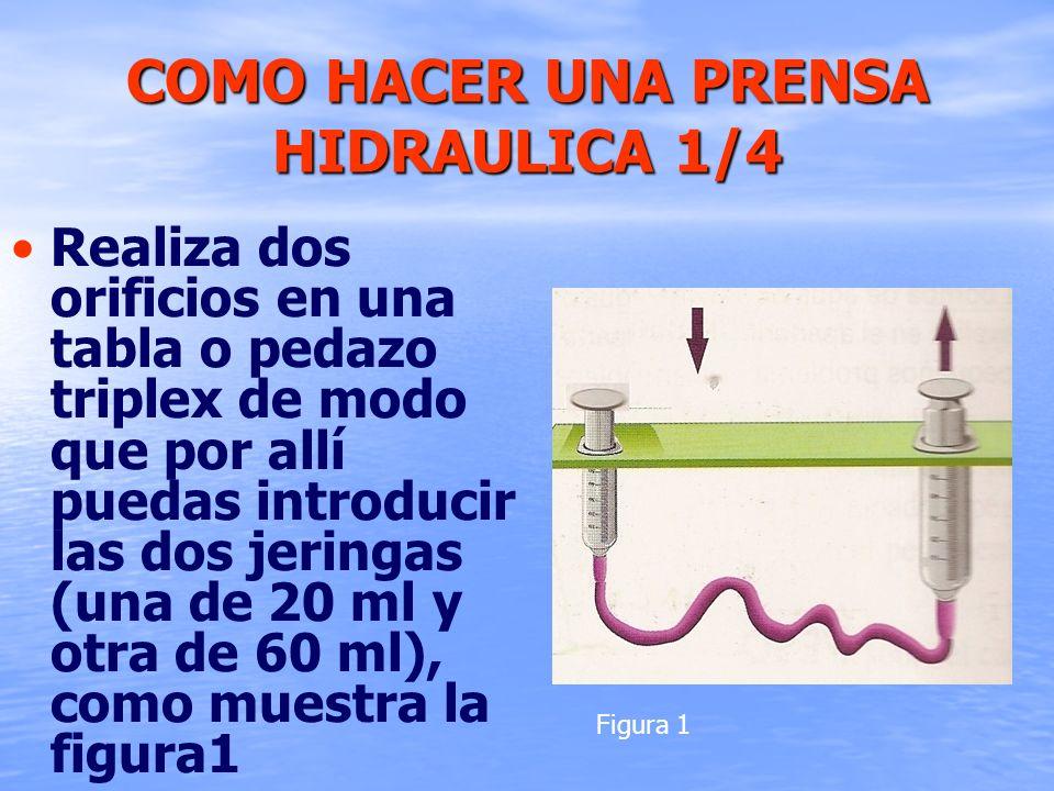 COMO HACER UNA PRENSA HIDRAULICA 1/4 Realiza dos orificios en una tabla o pedazo triplex de modo que por allí puedas introducir las dos jeringas (una