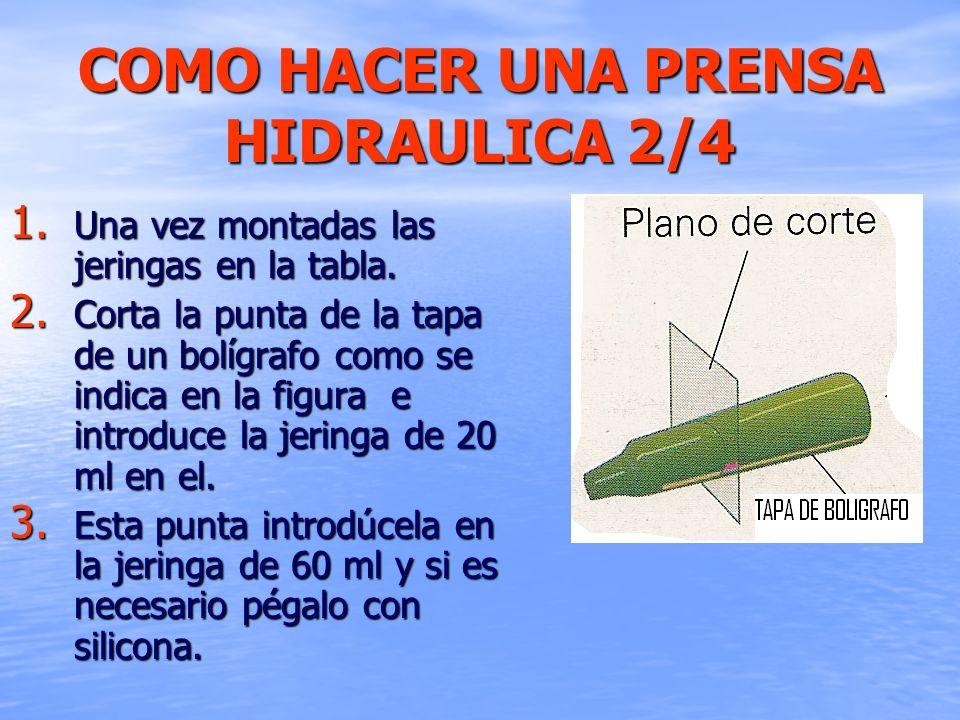 COMO HACER UNA PRENSA HIDRAULICA 2/4 1. Una vez montadas las jeringas en la tabla. 2. Corta la punta de la tapa de un bolígrafo como se indica en la f