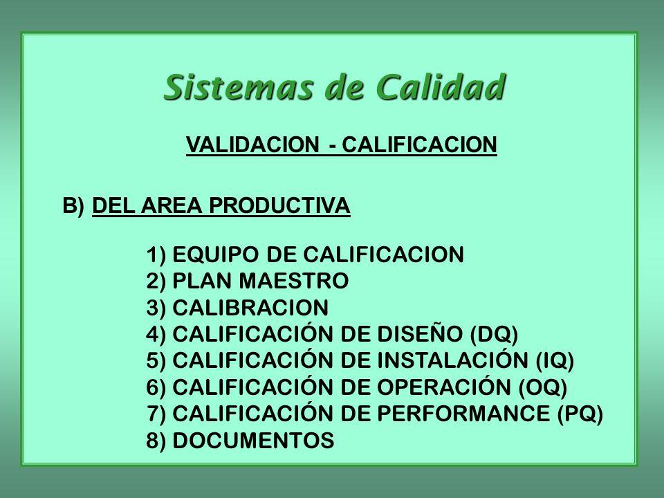 Sistemas de Calidad VALIDACION - CALIFICACION B) DEL AREA PRODUCTIVA 1) EQUIPO DE CALIFICACION 2) PLAN MAESTRO 3) CALIBRACION 4) CALIFICACIÓN DE DISEÑ