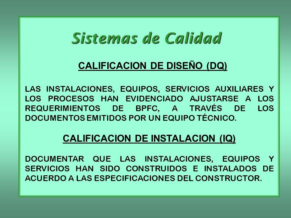 Sistemas de Calidad CALIFICACION DE DISEÑO (DQ) LAS INSTALACIONES, EQUIPOS, SERVICIOS AUXILIARES Y LOS PROCESOS HAN EVIDENCIADO AJUSTARSE A LOS REQUER