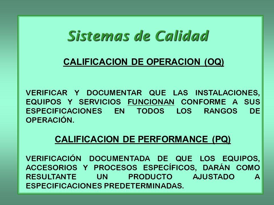 Sistemas de Calidad CALIFICACION DE OPERACION (OQ) VERIFICAR Y DOCUMENTAR QUE LAS INSTALACIONES, EQUIPOS Y SERVICIOS FUNCIONAN CONFORME A SUS ESPECIFI