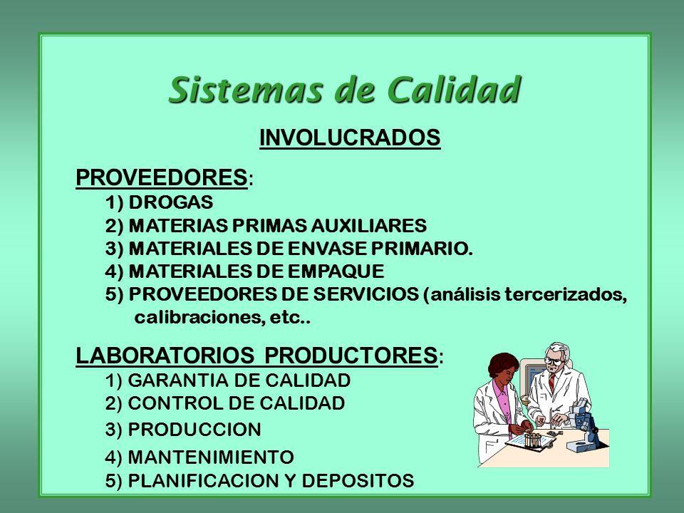 Sistemas de Calidad INVOLUCRADOS PROVEEDORES : 1) DROGAS 2) MATERIAS PRIMAS AUXILIARES 3) MATERIALES DE ENVASE PRIMARIO. 4) MATERIALES DE EMPAQUE 5) P