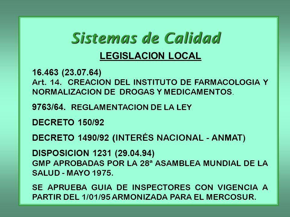 Sistemas de Calidad LEGISLACION LOCAL 16.463 (23.07.64) Art. 14. CREACION DEL INSTITUTO DE FARMACOLOGIA Y NORMALIZACION DE DROGAS Y MEDICAMENTOS. 9763