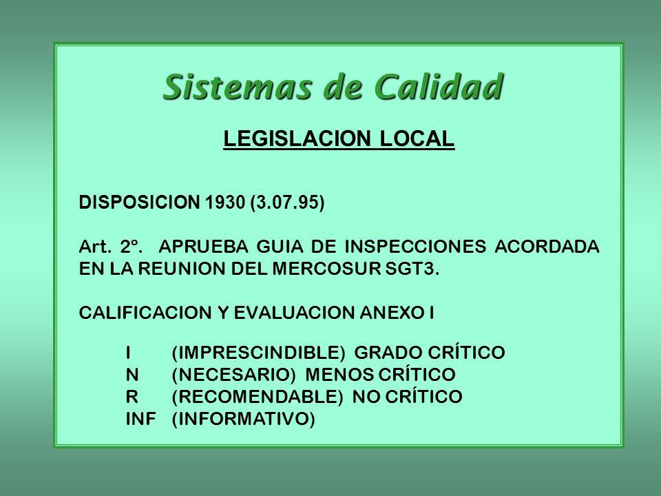 Sistemas de Calidad LEGISLACION LOCAL DISPOSICION 1930 (3.07.95) Art. 2º. APRUEBA GUIA DE INSPECCIONES ACORDADA EN LA REUNION DEL MERCOSUR SGT3. CALIF