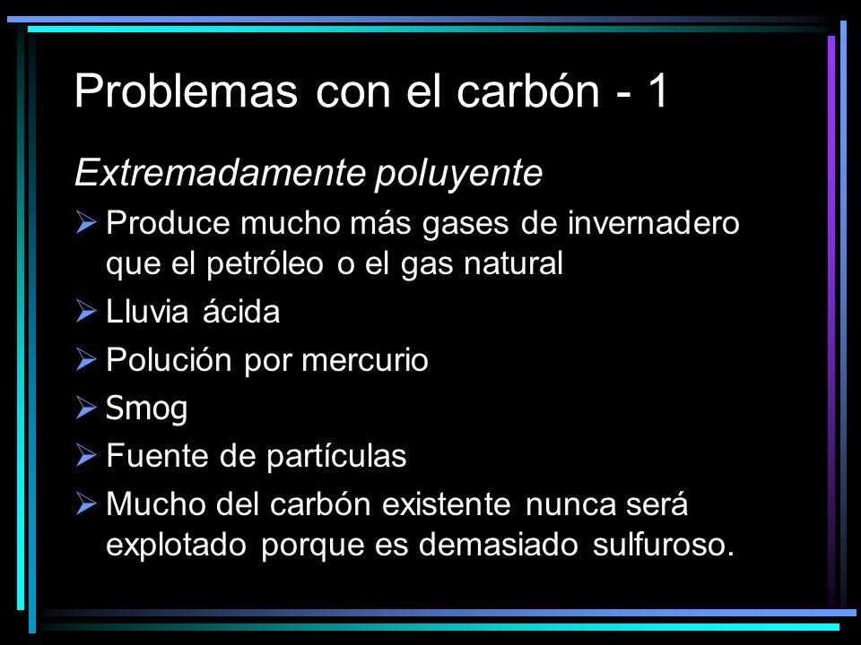 Problemas con el carbón - 1 Extremadamente poluyente Produce mucho más gases de invernadero que el petróleo o el gas natural Lluvia ácida Polución por mercurio Smog Fuente de partículas Mucho del carbón existente nunca será explotado porque es demasiado sulfuroso.