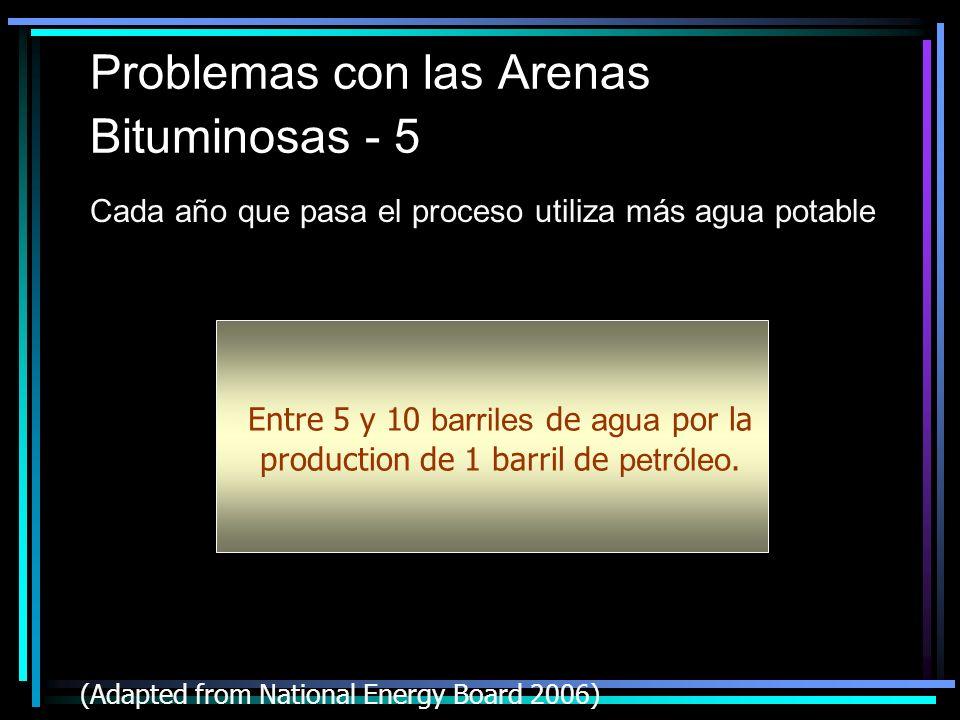 Problemas con las Arenas Bituminosas - 5 Cada año que pasa el proceso utiliza más agua potable 200219982001 (Adapted from National Energy Board 2006) Entre 5 y 10 barriles de agua por la production de 1 barril de petróleo.