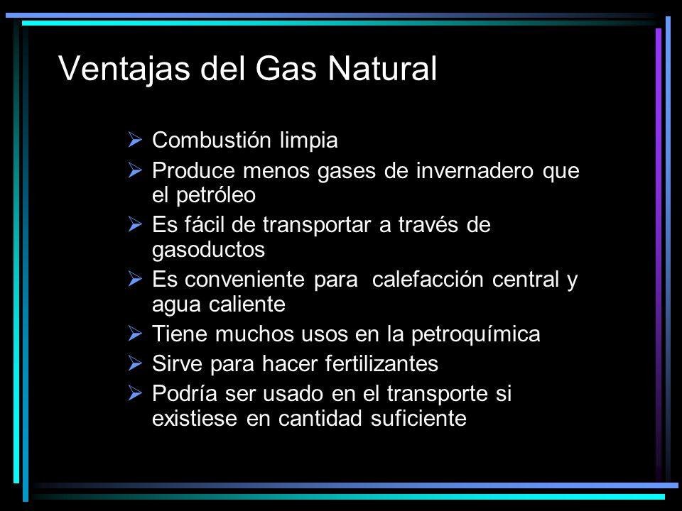 Ventajas del Gas Natural Combustión limpia Produce menos gases de invernadero que el petróleo Es fácil de transportar a través de gasoductos Es conveniente para calefacción central y agua caliente Tiene muchos usos en la petroquímica Sirve para hacer fertilizantes Podría ser usado en el transporte si existiese en cantidad suficiente
