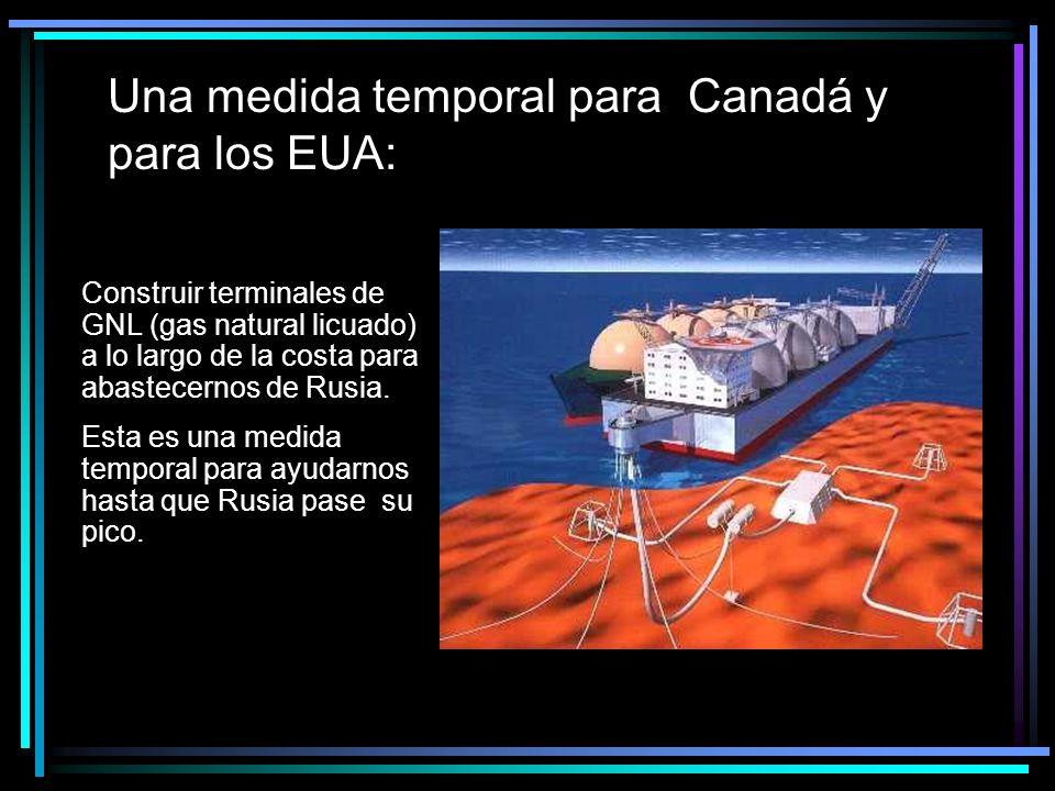 Una medida temporal para Canadá y para los EUA: Construir terminales de GNL (gas natural licuado) a lo largo de la costa para abastecernos de Rusia.