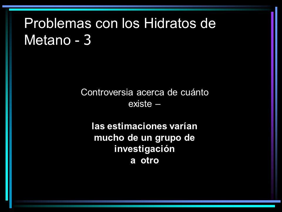 Problemas con los Hidratos de Metano - 3 Controversia acerca de cuánto existe – las estimaciones varían mucho de un grupo de investigación a otro
