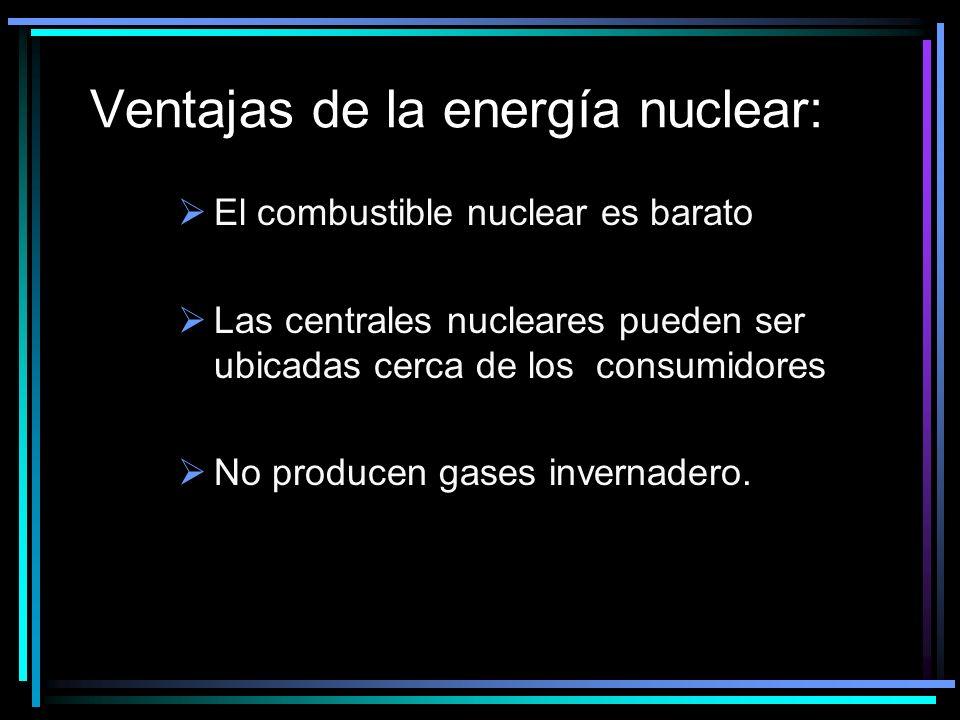 Ventajas de la energía nuclear: El combustible nuclear es barato Las centrales nucleares pueden ser ubicadas cerca de los consumidores No producen gases invernadero.