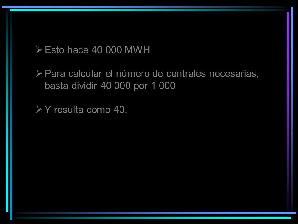 Esto hace 40 000 MWH Para calcular el número de centrales necesarias, basta dividir 40 000 por 1 000 Y resulta como 40.