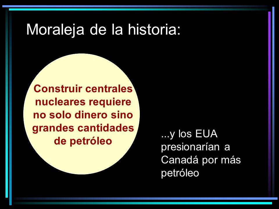 Moraleja de la historia: Construir centrales nucleares requiere no solo dinero sino grandes cantidades de petróleo...y los EUA presionarían a Canadá por más petróleo