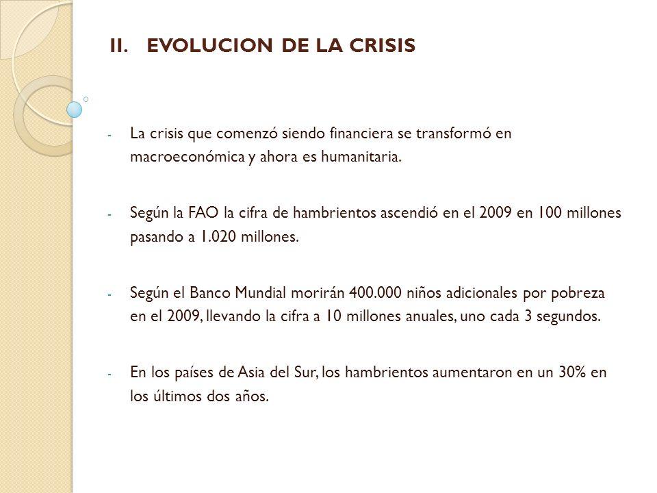 II. II.EVOLUCION DE LA CRISIS - La crisis que comenzó siendo financiera se transformó en macroeconómica y ahora es humanitaria. - Según la FAO la cifr
