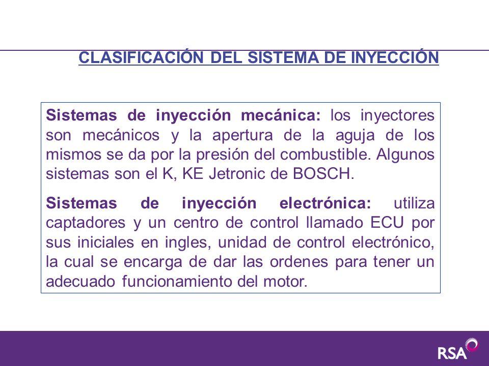 CLASIFICACIÓN DEL SISTEMA DE INYECCIÓN Sistemas de inyección mecánica: los inyectores son mecánicos y la apertura de la aguja de los mismos se da por